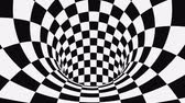 satranç : Black and white psychedelic optical illusion. Abstract hypnotic animated background. Checkered geometric looping monochrome wallpaper. Chess modern dynamic backdrop. 3D seamless full HD animation