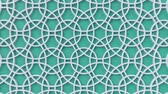 sfondi animati : Arabesque looping geometric pattern. Green and white islamic 3d motif. Arabic oriental animated background. Muslim moving wallpaper. Asian ornament with circles. Ethnic design element decoration.