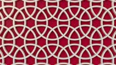 arte islamico : Arabesque looping geometric pattern. Red and white islamic 3d motif. Arabic oriental animated background. Muslim moving wallpaper. Asian ornament with circles. Ethnic design element decoration.