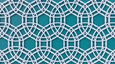 sfondi animati : Arabesque looping geometric pattern. Blue and white islamic 3d motif. Arabic oriental animated background. Muslim moving wallpaper. Asian ornament with circles. Ethnic design element decoration.