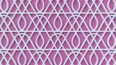 sfondi animati : Arabesque looping geometric pattern. Pink and white islamic 3d motif. Arabic oriental animated background. Muslim moving wallpaper. Asian ornament with triangles. Ethnic design element decoration. Filmati Stock