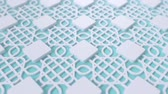 arte islamico : Arabesque looping geometric pattern. Blue and white islamic 3d motif. Arabic oriental animated background. Muslim moving wallpaper. Asian ornament with squares. Ethnic design element decoration.