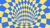 filare : Blue and yellow psychedelic optical illusion. Abstract hypnotic diamond animated background. Geometric looping wallpaper with rhombus shapes. Surreal dynamic backdrop. 3D seamless full HD animation Filmati Stock