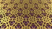 arte islamico : Arabesque looping geometric pattern. Gold and violet islamic 3d motif. Arabic oriental animated background. Muslim moving wallpaper. Asian ornament with circles. Ethnic design element decoration.
