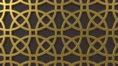 arte islamico : Arabesque looping geometric pattern. Gold and brown islamic 3d motif. Arabic oriental animated background. Muslim moving wallpaper. Asian ornament with circles. Ethnic design element decoration.