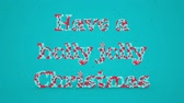 rozjařený : Merry Christmas and Happy New Year greeting lettering. Winter holiday motion graphic. Decorative animated inscription on blue background. Typographic festive design element. 3d render