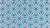 arte islamico : Arabesque looping geometric pattern. Blue and white islamic 3d motif. Arabic oriental animated background. Muslim moving wallpaper. Asian ornament with circles. Ethnic design element decoration.