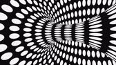 opção : Black and white psychedelic optical illusion. Abstract hypnotic animated background. Polka dot geometric looping monochrome wallpaper. Surreal spotted dynamic backdrop. 3D seamless full HD animation