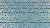 arte islamico : Arabesque looping geometric pattern. Blue and gold islamic 3d motif. Arabic oriental animated background. Muslim moving wallpaper. Asian ornament with triangles. Ethnic design element decoration. Archivo de Video
