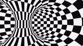 opção : Black and white psychedelic optical illusion. Abstract hypnotic animated background. Checkered geometric looping monochrome wallpaper. Chess modern dynamic backdrop. 3D seamless full HD animation