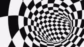 örvény : Black and white psychedelic optical illusion. Abstract hypnotic animated background. Checkered geometric looping monochrome wallpaper. Chess modern dynamic backdrop. 3D seamless full HD animation