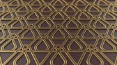 arte islamico : Arabesque looping geometric pattern. Brown and gold islamic 3d motif. Arabic oriental animated background. Muslim moving wallpaper. Asian ornament with triangles. Ethnic design element decoration. Archivo de Video