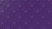 arte islamico : Arabesque looping geometric pattern. Purple islamic 3d motif. Arabic oriental animated background. Muslim moving wallpaper. Asian ornament with circles. Ethnic design element decoration.