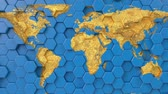 terra texture : World earth map on looping hexagonal blue background. 3d render seamless animation. Geographical atlas, motion graphics. Europe, africa, asia, australia, america continents on geometric pattern.
