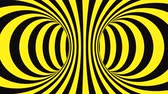 sfondi animati : Black and yellow psychedelic optical illusion. Abstract hypnotic animated background. Spiral geometric looping warning wallpaper. Surreal modern safety dynamic backdrop. 3D seamless full HD animation