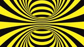 helezon : Black and yellow psychedelic optical illusion. Abstract hypnotic animated background. Spiral geometric looping warning wallpaper. Surreal modern safety dynamic backdrop. 3D seamless full HD animation