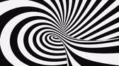 onmogelijk : Black and white psychedelic optical illusion. Abstract hypnotic animated background. Spiral geometric looping monochrome wallpaper. Surreal modern dynamic backdrop. 3D seamless full HD animation
