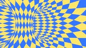 ruitjes : Blue and yellow psychedelic optical illusion. Abstract hypnotic diamond animated background. Geometric looping wallpaper with rhombus shapes. Surreal dynamic backdrop. 3D seamless full HD animation Stockvideo