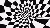 verificador : Black and white psychedelic optical illusion. Abstract hypnotic animated background. Checkered geometric looping monochrome wallpaper. Chess modern dynamic backdrop. 3D seamless full HD animation