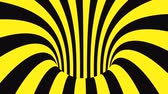 onmogelijk : Black and yellow psychedelic optical illusion. Abstract hypnotic animated background. Spiral geometric looping warning wallpaper. Surreal modern safety dynamic backdrop. 3D seamless full HD animation
