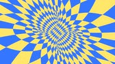 opção : Blue and yellow psychedelic optical illusion. Abstract hypnotic diamond animated background. Geometric looping wallpaper with rhombus shapes. Surreal dynamic backdrop. 3D seamless full HD animation Stock Footage