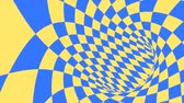 hile : Blue and yellow psychedelic optical illusion. Abstract hypnotic diamond animated background. Geometric looping wallpaper with rhombus shapes. Surreal dynamic backdrop. 3D seamless full HD animation Stok Video