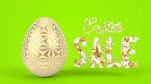 Happy Easter greeting holiday background. Spring sale, holiday offer, seasonal discount. 3d render animation. Minimal style graphic abstract design.