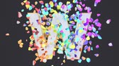 Exploding festival white font isolated on black background with multicolored falling confetti. Shattered bold carnival greeting letters. Crumbled effect, 3d render animation. Holiday design element. Vídeos