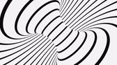 Black and white psychedelic optical illusion. Abstract hypnotic animated background. Spiral geometric looping monochrome wallpaper. Surreal modern dynamic backdrop. 3D seamless full HD animation