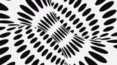 Black and white psychedelic optical illusion. Abstract hypnotic animated background. Polka dot geometric looping monochrome wallpaper. Surreal spotted dynamic backdrop. 3D seamless full HD animation