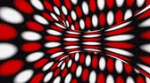Black, red and white psychedelic optical illusion. Abstract hypnotic animated background. Polka dot geometric looping wallpaper. Surreal spotted dynamic backdrop. 3D seamless full HD animation