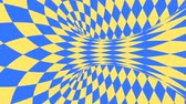 Blue and yellow psychedelic optical illusion. Abstract hypnotic diamond animated background. Geometric looping wallpaper with rhombus shapes. Surreal dynamic backdrop. 3D seamless full HD animation Vídeos