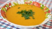 fruit vegetable : Cooked and decorated with greens pumpkin cream soup in a plate. Healthy food