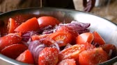 Salad of sliced tomato and blue onion sprinkled with large sea salt. Healthy food vitamins vegetables. Stok Video