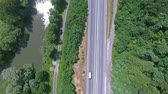 kolej : Aerial view of highway, railway, river, forest and grassland