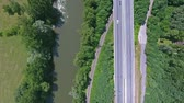 зеленый : Aerial view of highway, railway, river, forest and grassland