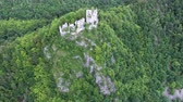 acima : Aerial view of old castle ruins in deciduous forest