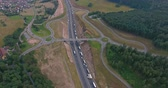 passagem elevada : Aerial view of highway, traffic jam, green forest, Netherlands
