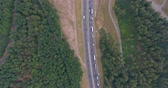 roundabout : Aerial view of highway, traffic jam, green forest, Netherlands