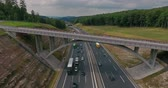 frondoso : Aerial view of highway, traffic jam, green forest, Netherlands