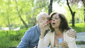cônjuge : Beautiful senior couple in love outside in spring nature.