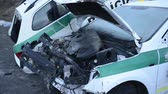 полиция : Police car destroyed after vehicle collision. Стоковые видеозаписи