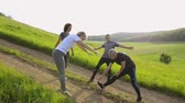 sujeira : Group of senior runners in nature on dirt road stretching legs and arms. Stock Footage