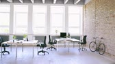 spacious : The interior of big bright empty modern office after work. Stock Footage