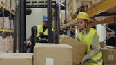 cardboard : Woman warehouse worker loading boxes.