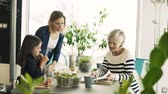 spinach : A small girl with mother and grandmother at home. Stock Footage