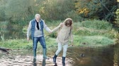 bota : Senior couple on a walk in autumn nature. Stock Footage