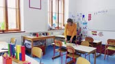 номер : A young woman teacher in the classroom at school.
