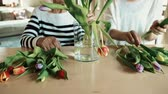 tulip : Elderly grandmother with an adult granddaughter at home, putting flowers in a vase.