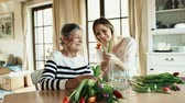 tulip : Elderly grandmother with an adult granddaughter at home. Stock Footage